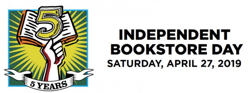 Independent Bookstore Day Logo with date Saturday April 27th 2019