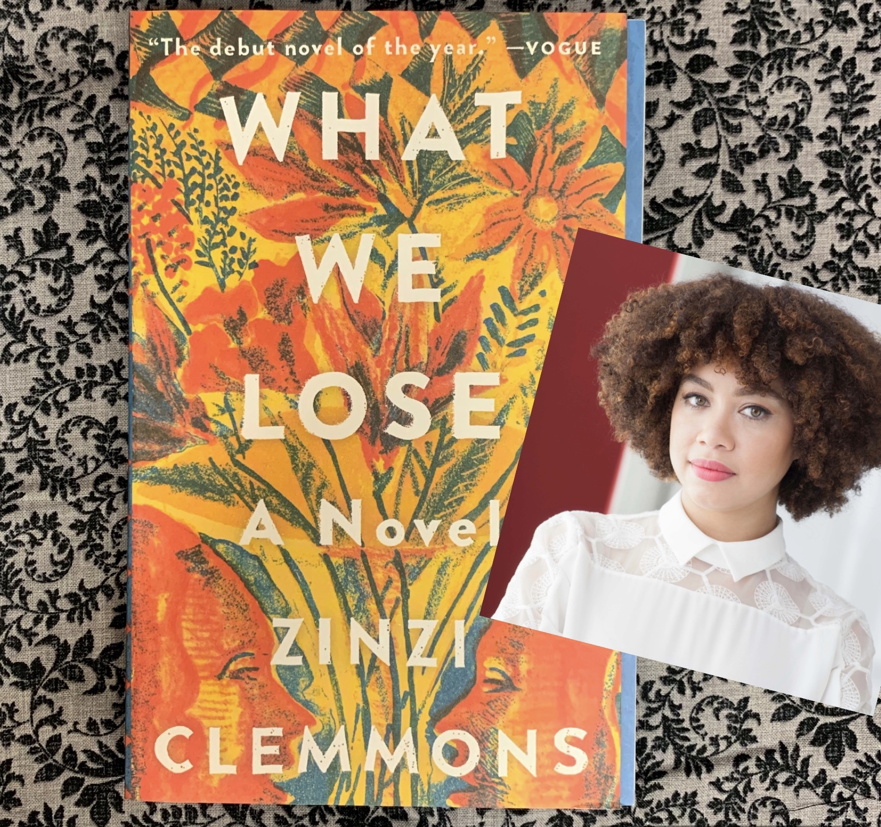 Book cover of the novel What We Lose and author photo of Zinzi Clemmons